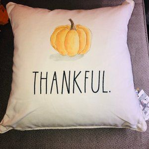 Rae Dunn THANKFUL Feather Pillow Fall 2020 Pumpkin